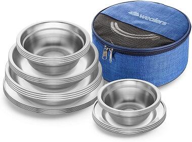 Wealers 24-Piece Stainless Steel Camping Dinnerware